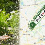 Map of Maximum Pest Control Services Service Areas in Ontario and woman holding a child in the green garden