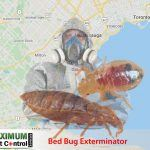 bed bug exterminator wearing overalls and map of Southern Ontario