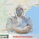 map of Ontario Oakville and dead rodent lying down next to rodent exterminator
