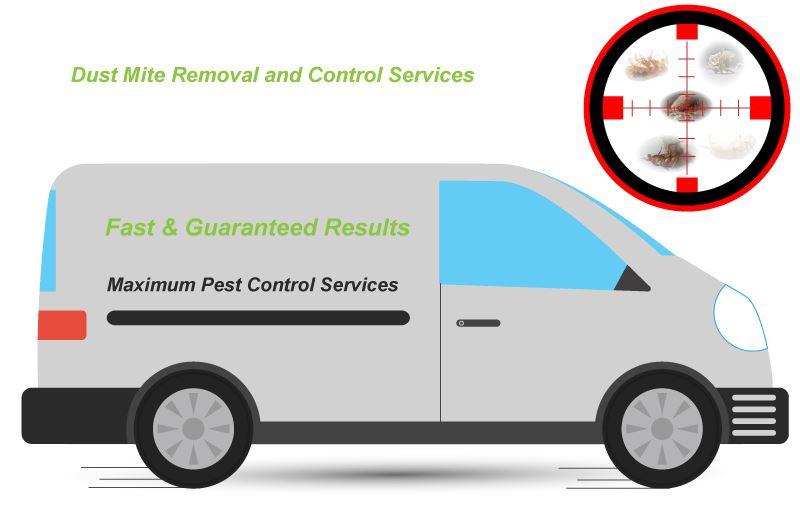 dust mite behind sniper target illustration and a pest management van